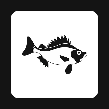 aquatic: Ruff fish icon in simple style isolated on white background. Inhabitants aquatic environment symbol Illustration
