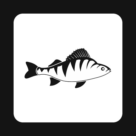 aquatic: Perch fish icon in simple style isolated on white background. Inhabitants aquatic environment symbol