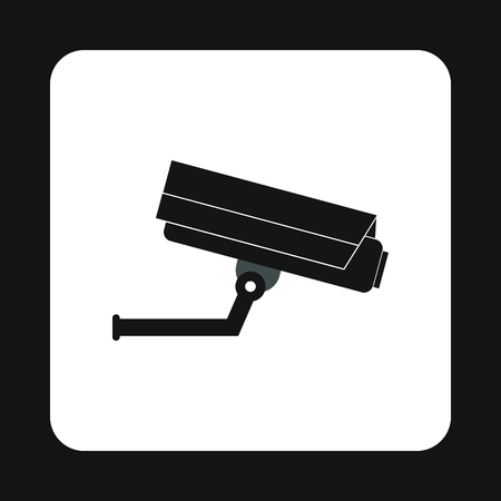 private public: Surveillance camera icon in simple style isolated on white background. Shooting symbol