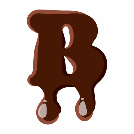 melted chocolate: Letter B from latin alphabet with numbers and symbols made of dark melted chocolate Illustration