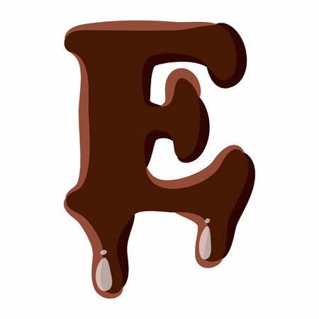 Letter E from latin alphabet with numbers and symbols made of dark melted chocolate