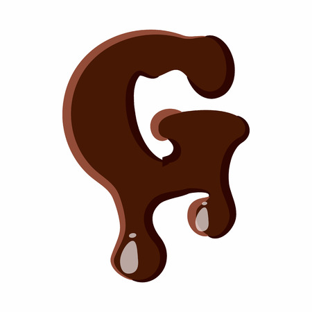 melted chocolate: Letter G from latin alphabet with numbers and symbols made of dark melted chocolate Illustration