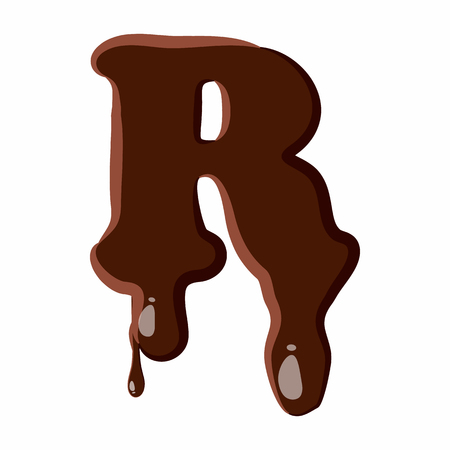melted chocolate: Letter R from latin alphabet with numbers and symbols made of dark melted chocolate