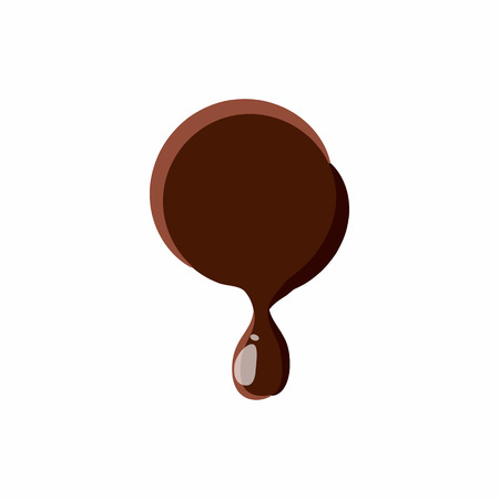 melting point: Punctuation mark point from latin alphabet with numbers and symbols made of dark melted chocolate