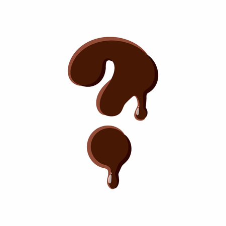 melted chocolate: Question mark from latin alphabet with numbers and symbols made of dark melted chocolate
