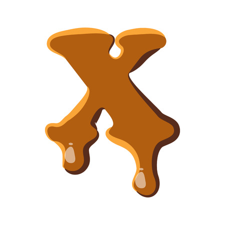 condensed: Letter X from caramel icon isolated on white background. Alphabet symbol Illustration