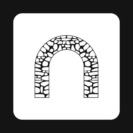 frontage: Stone arch icon in simple style isolated on white background. Construction symbol