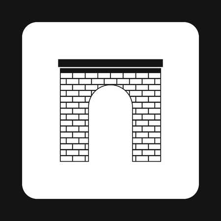 frontage: Brick arch icon in simple style isolated on white background. Construction symbol