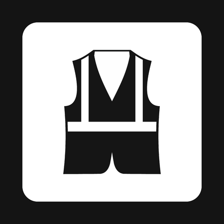 reflective vest: Reflective vest icon in simple style isolated on white background. Protection symbol