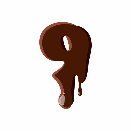 choco: Number 9 from latin alphabet with numbers and symbols made of dark melted chocolate Illustration