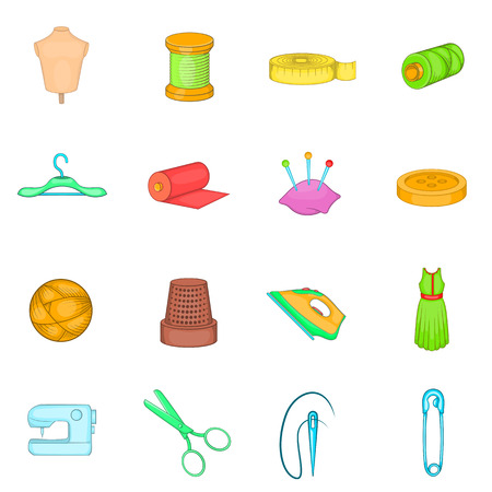 needlework: Tailoring icons set in cartoon style. Sewing and needlework set collection vector illustration