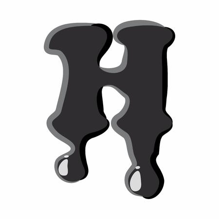 black liquid: H letter isolated on white background. Black liquid oil H letter vector illustration
