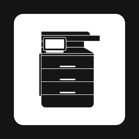 multifunction printer: Multipurpose device, fax, copier and scanner icon in simple style on a white background