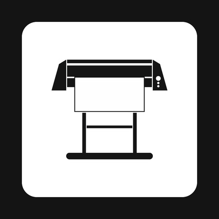 large: Large format printer icon in simple style on a white background Illustration