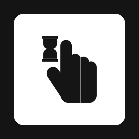 anticipation: Cursor hand in anticipation icon in simple style isolated on white background. Computer and internet symbol