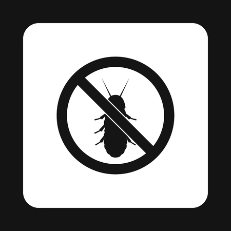 coleoptera: Prohibition sign coleoptera icon in simple style isolated on white background. Warning symbol