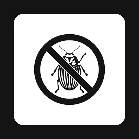 beetles: Prohibition sign colorado beetles icon in simple style isolated on white background. Warning symbol