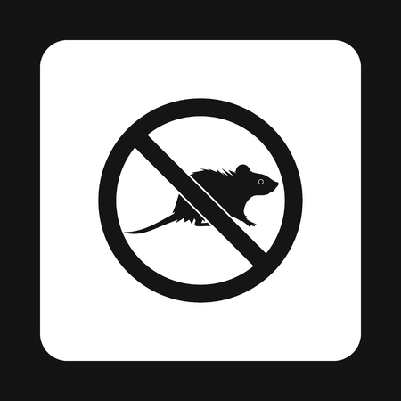 vermin: Prohibition sign mouse icon in simple style isolated on white background. Warning symbol