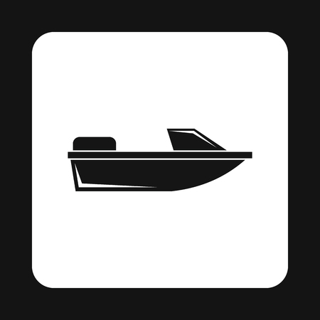 motorboat: Motorboat icon in simple style isolated on white background. Sea transport symbol