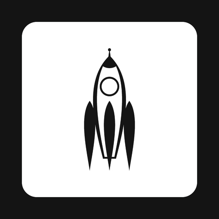space flight: Aircraft rocket icon in simple style isolated on white background. Space flight symbol