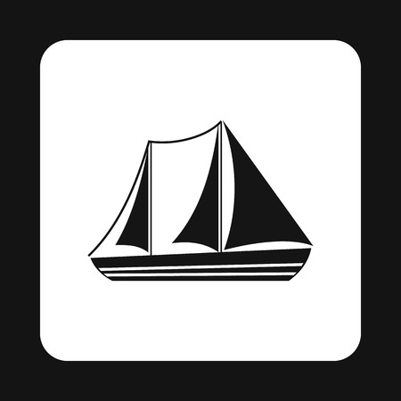 sea transport: Boat with three sails icon in simple style isolated on white background. Sea transport symbol Illustration