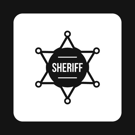 Sheriff badge icon in simple style isolated on white background. Police symbol