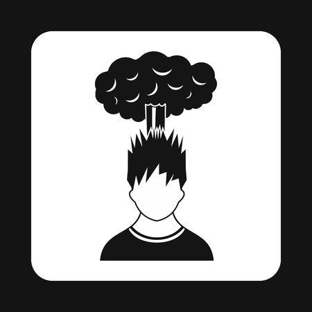 despondency: Cloud over man head icon in simple style isolated on white background