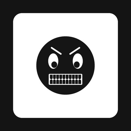 choleric: Emoticon in anger icon in simple style isolated on white background Illustration