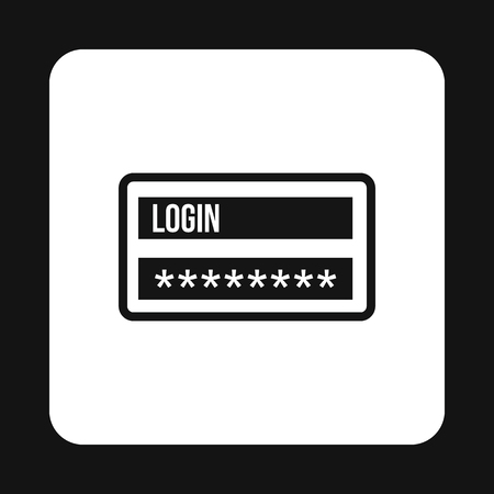 username: Username and password icon in simple style isolated on white background. Authorization symbol