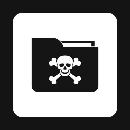 infect: Virus in e-mail icon in simple style isolated on white background. Hacking symbol Illustration