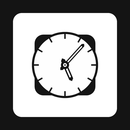 wall mounted: Wall mounted round clock icon in simple style isolated on white background. Time symbol