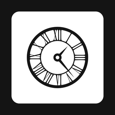 numeros romanos: Reloj redondo con el icono de los n�meros romanos en un estilo sencillo aislado en el fondo blanco. s�mbolo de tiempo