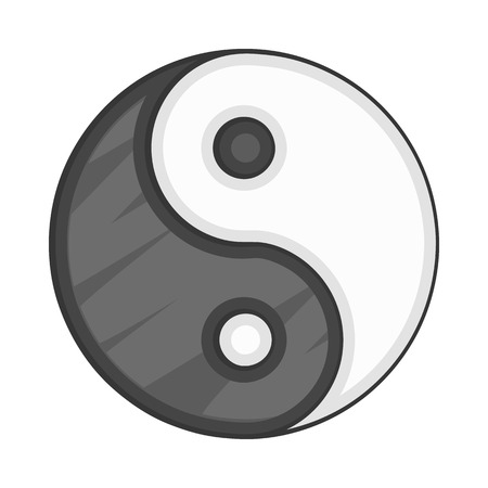 yang style: Ying yang icon in cartoon style on a white background