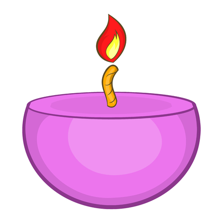 spa still life: Pink urning candle icon in cartoon style on a white background