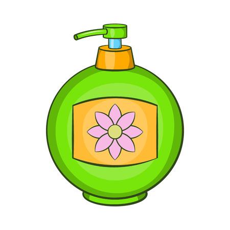 dishwashing liquid: Green plastic bottle of liquid soap icon in cartoon style on a white background Illustration