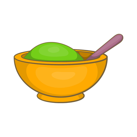 Yellow mortar and pestle icon in cartoon style on a white background
