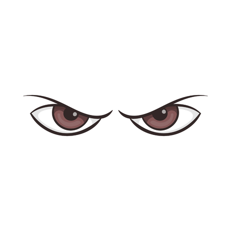 Pair of eyes watching icon in cartoon style on a white background Иллюстрация