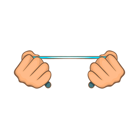 kidnapping: Rope in hands icon in cartoon style on a white background