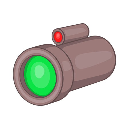 Scope: Sniper rifle telescope scope glass lens icon in cartoon style on a white background