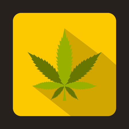 sativa: Marijuana leaf icon in flat style on a yellow background