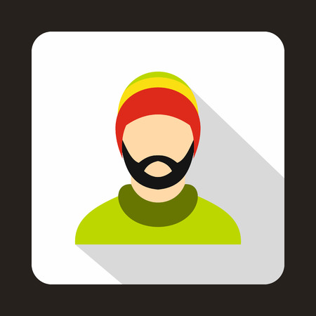 rasta hat: Man wearing rastafarian hat icon in flat style on a white background