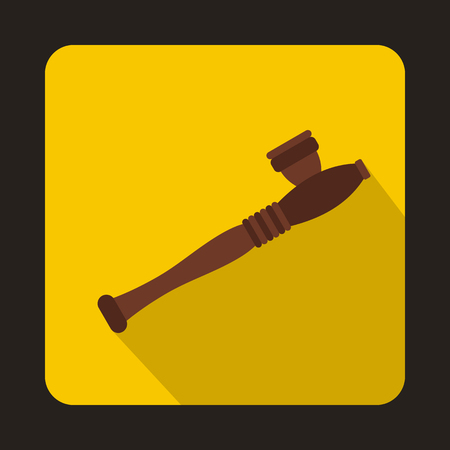 hashish: Wooden hashish pipe icon in flat style on a yellow background