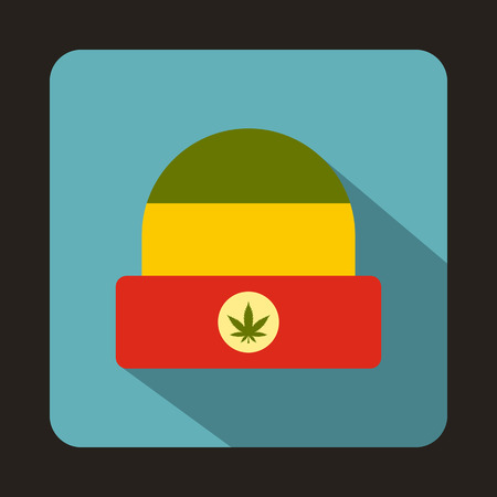 rasta hat: Rasta hat with marijuana leaf icon in flat style on a baby blue background