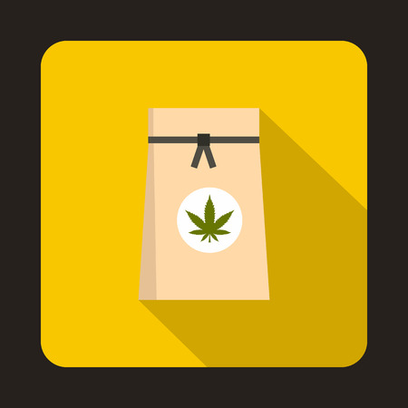 intoxication: Paper bag of medical marijuana icon in flat style on a yellow background