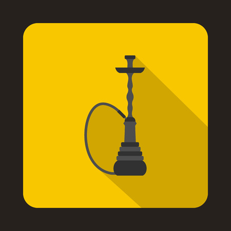 Hookah icon in flat style on a yellow background Ilustração