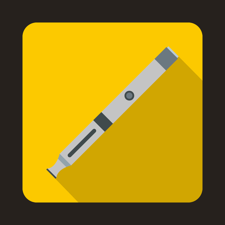 Electronic cigarette icon in flat style on a yellow background Illustration