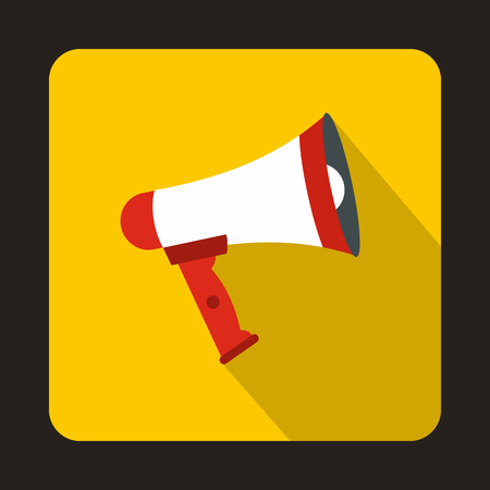 loudhailer: Megaphone icon in flat style on a yellow background