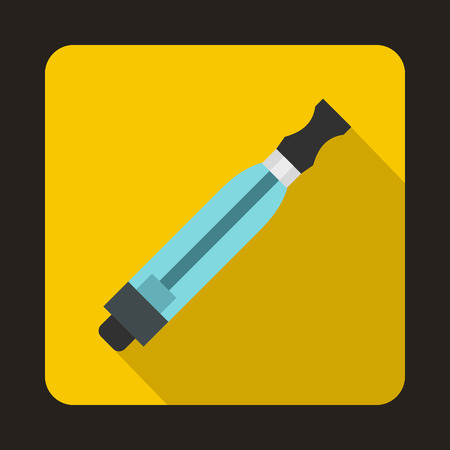 Electronic cigarette atomizer icon in flat style on a yellow background Illustration