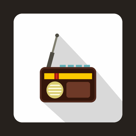 Radio advertising icon in flat style on a white background