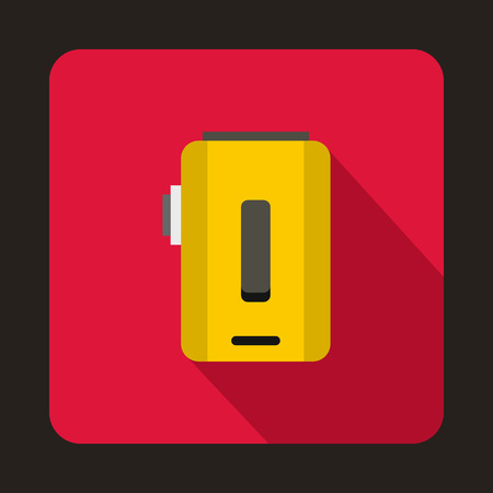 e cig: Box mod, vaporizer icon in flat style on a crimson background Illustration